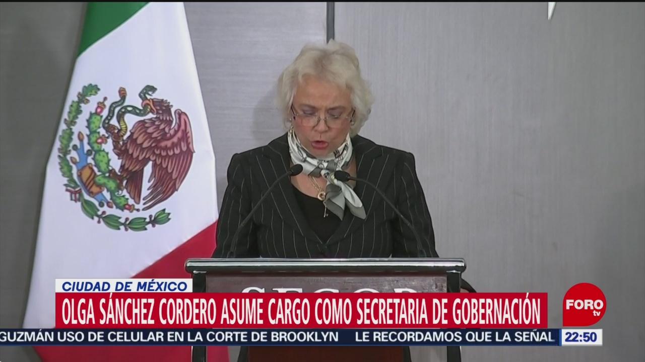 Olga Sánchez Cordero asume cargo como secretaria de Gobernación