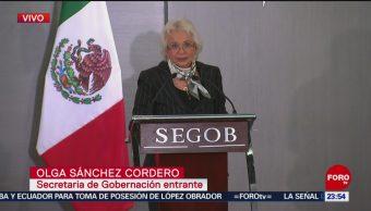 Olga Sánchez Cordero Recibe Segob Gobernación