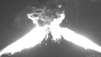 Volcán Popocatépetl registra fuerte explosión