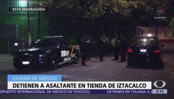 Sorprenden a hombre durante robo a tienda de autoservicio en Iztacalco