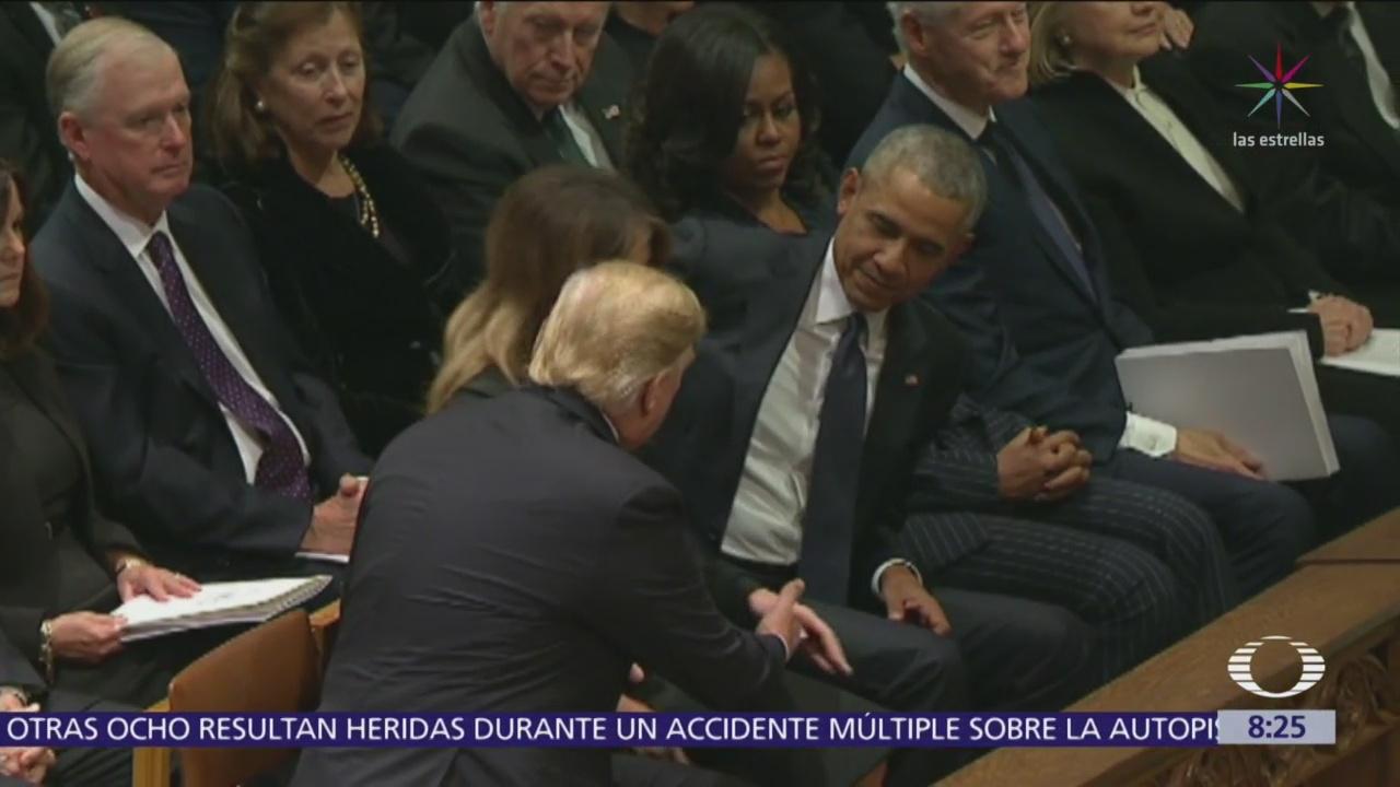 Trump ignora a los Clinton durante funeral de Estado de George H.W. Bush