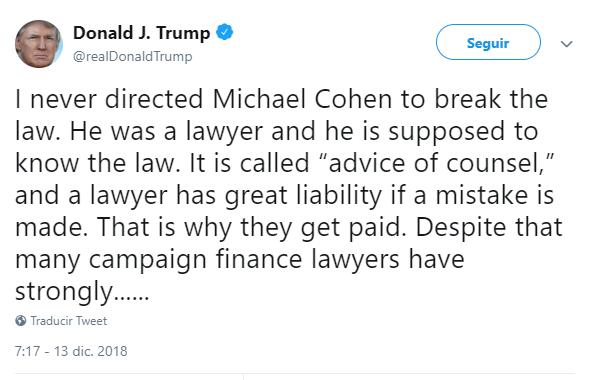 Trump tuitea sobre Michael Cohen. (@realDonaldTrump)