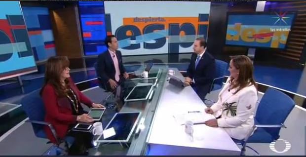 Yeidckol Polevnsky, Carlos Loret de Mola, Marko Cortés y Claudia Ruiz Massieu. (Noticieros Televisa)