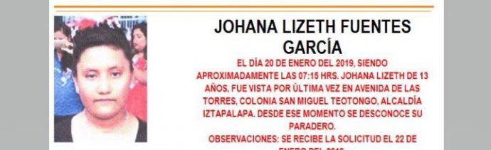 Alerta Amber para localizar a Johana Lizeth