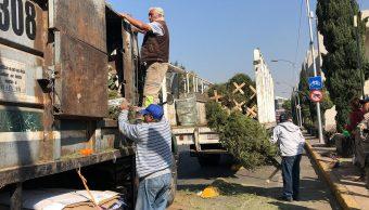Capitalinos dejan sus árboles de Navidad en calles de CDMX