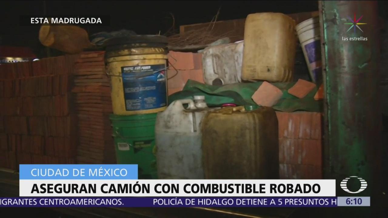 Aseguran camión con combustible robado en la CDMX
