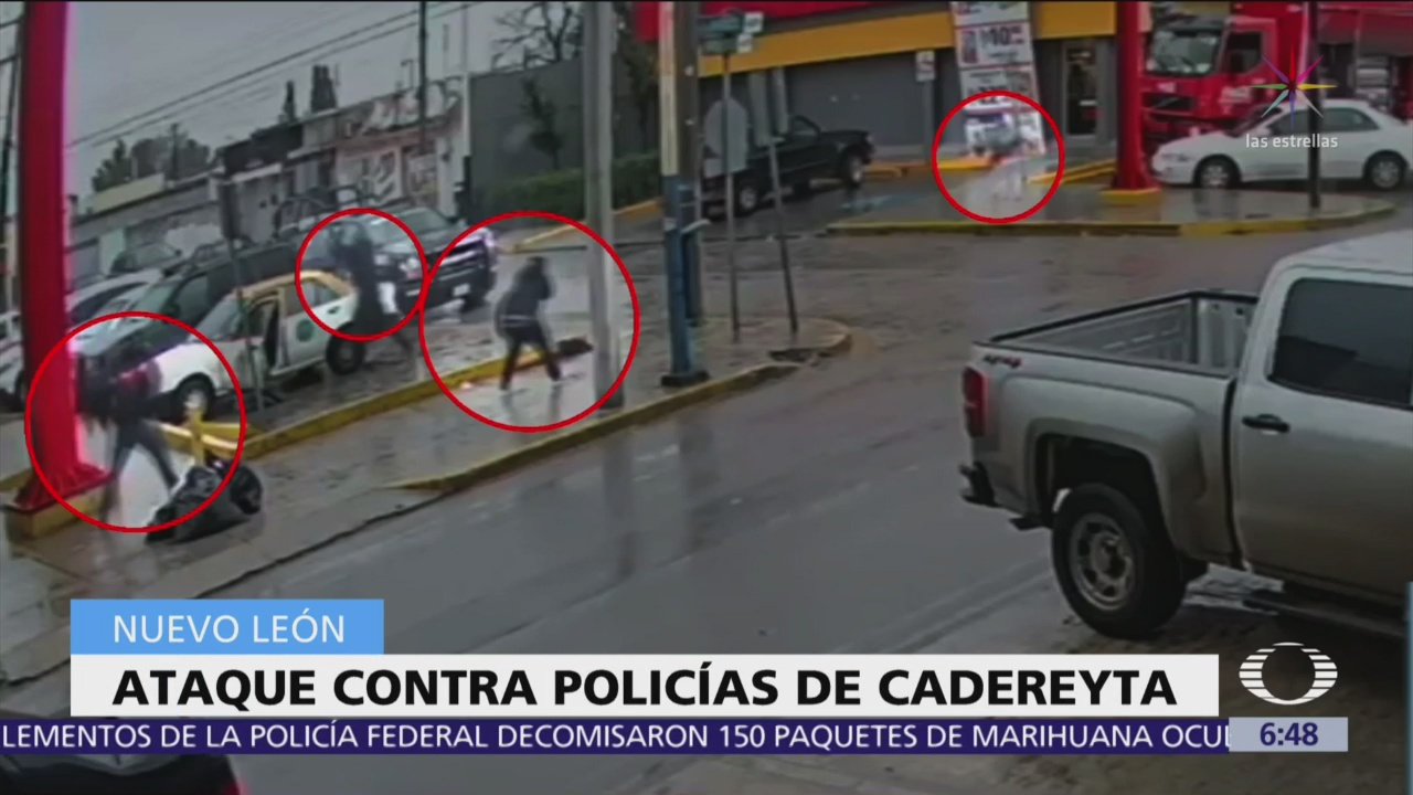Atacan a policías a 200 metros del Palacio Municipal de Cadereyta