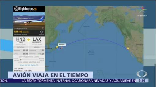 Avión deja Tokio en 2019 y llega a EU en 2018