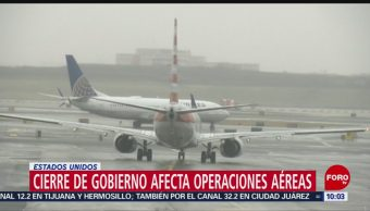 Cierre de gobierno afecta operaciones aéreas en EU