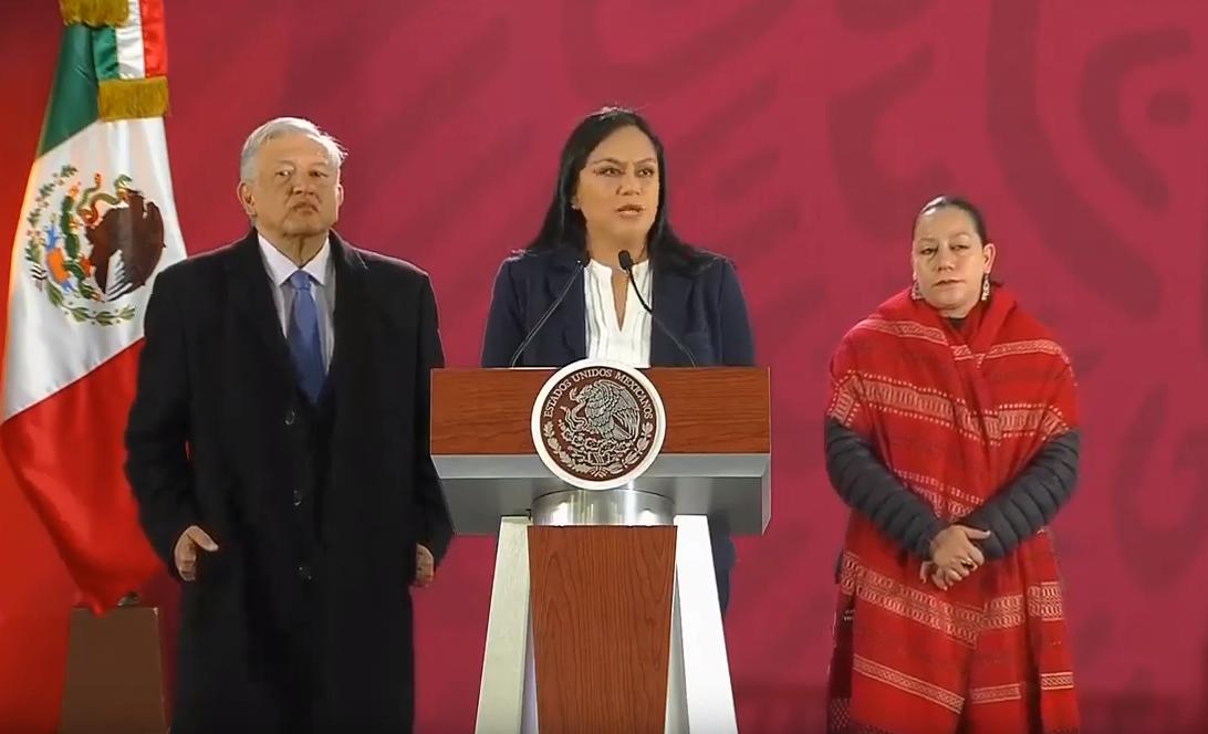 María Luisa Albores durante la conferencia de prensa de López Obrador. (YouTube)