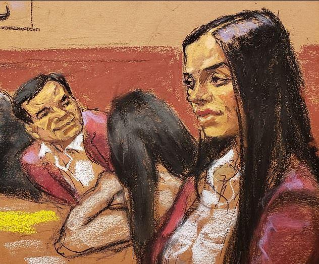 Dibujo de la artista Jane Rosemberg en el que aparecen 'El Chapo' y su esposa con el mismo saco, intercambiando una mirada de aprobación (Jane Rosenberg)