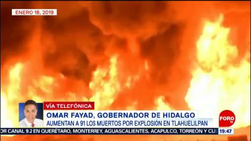 Gobernador Hidalgo Reporta 91 Muertos Explosión Tlahuelilpan