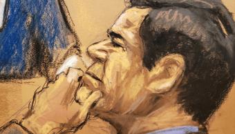 Foto: Dibujo de El Chapo Guzmán durante juicio en Nueva York, 24 de enero de 2019, Nueva York, Estados Unidos