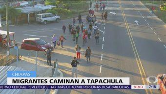 Grupo de migrantes entra a Chiapas de forma irregular