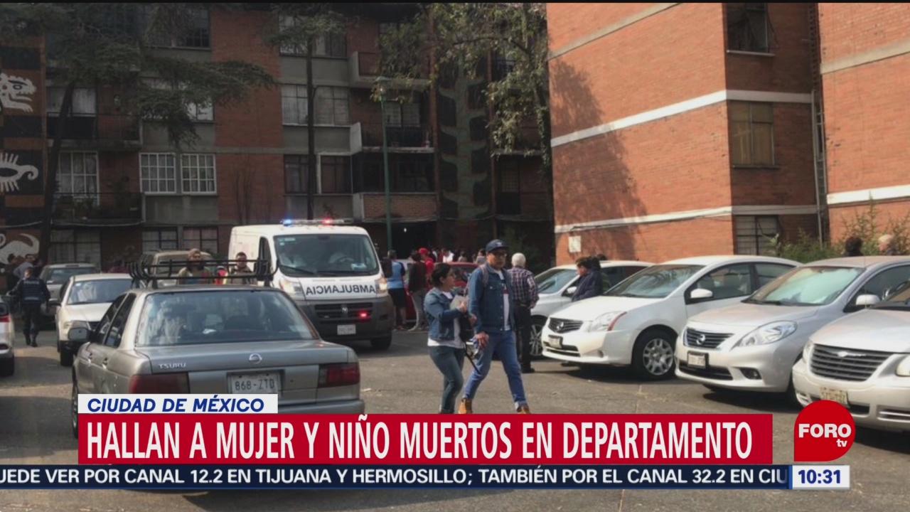 Hallan a mujer y niño muertos en departamento en la CDMX