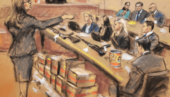 Foto: Dibujo de la fiscal Andrea Golbarg durante juicio a El Chapo Guzmán. 30 de enero 2019, Nueva York, Estados Unidos