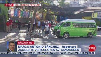 Cierran avenida Camarones, CDMX, por accidente vehicular