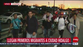 Llegan primeros migrantes hondureños a Ciudad Hidalgo, Chiapas