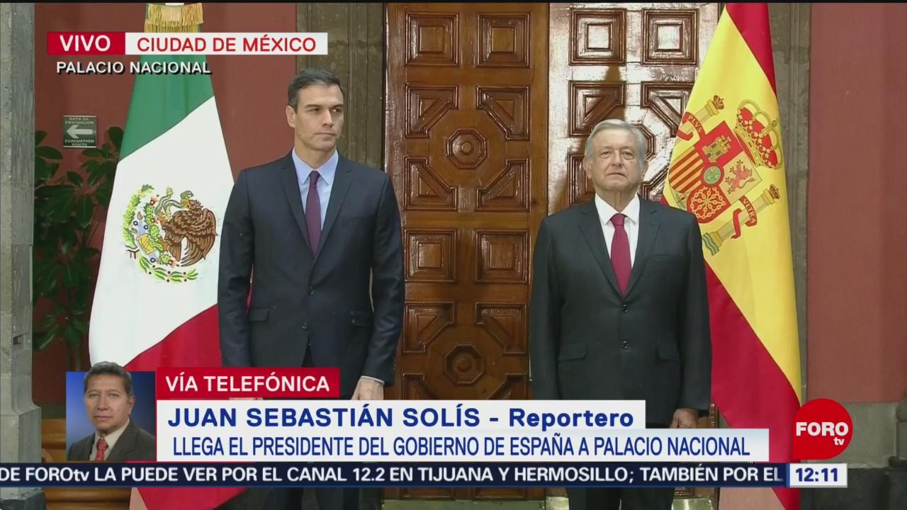 Pedro Sánchez llega a Palacio Nacional para reunirse con AMLO