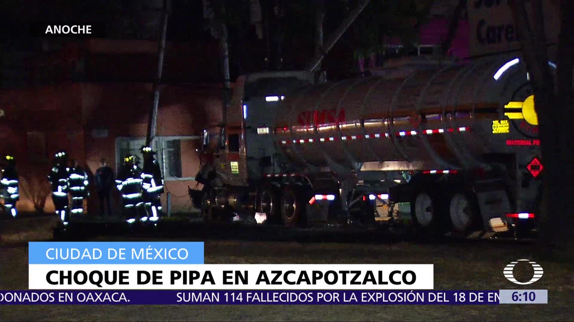Pipa choca contra poste en Azcapotzalco, CDMX