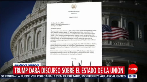 Foto: Carta de Trump a Pelosi, 23 de enero 2019