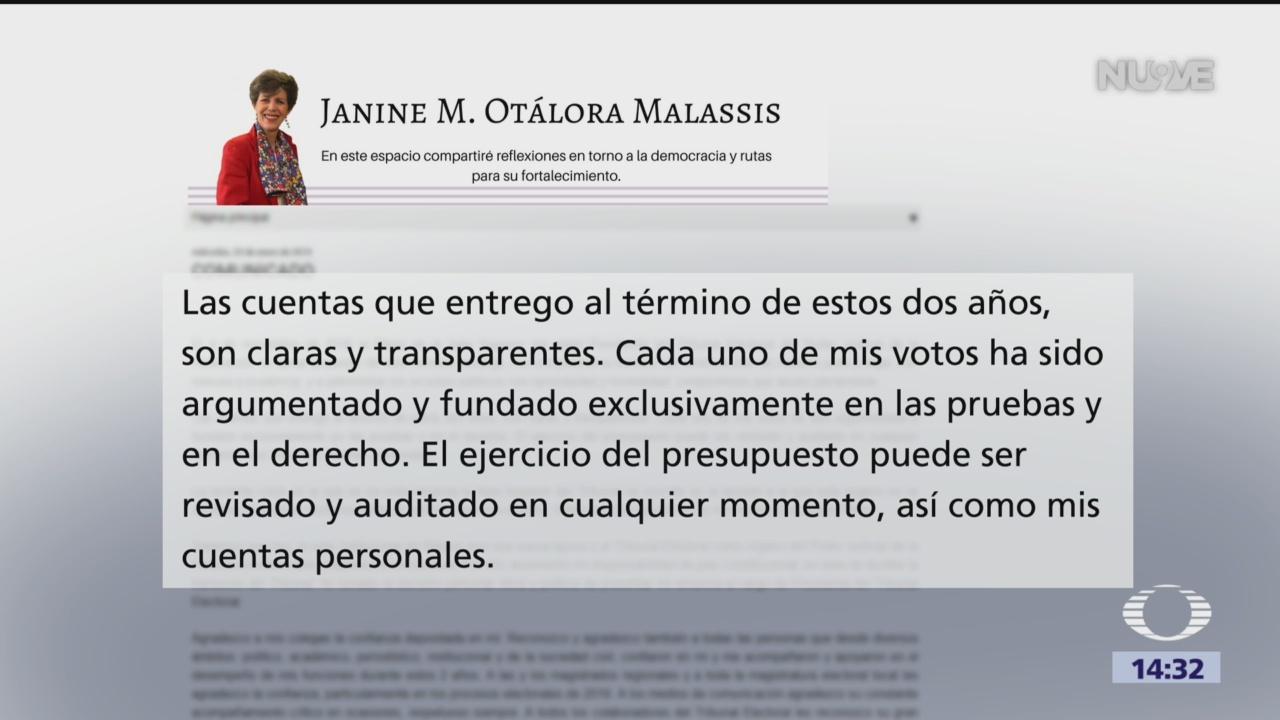 Renuncia Janine Otálora a la presidencia del TEPJF