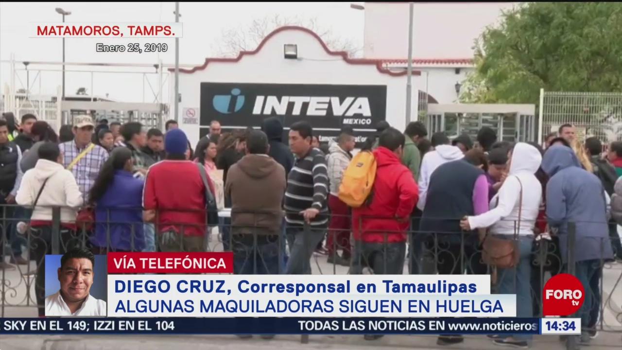 FOTO: Sigue huelga en maquiladoras de Matamoros, 28 enero 2019