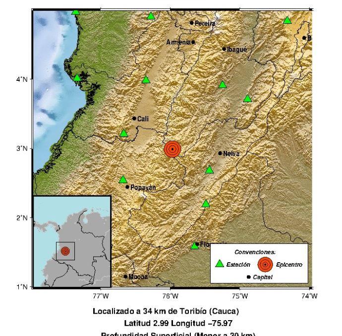 Foto: Epicentro del sismo en Colombia, 26 enero 2019