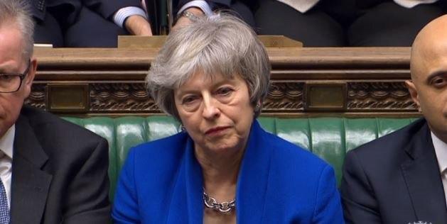 Foto: La primera ministra británica, Theresa May, en el Parlamento en Londres, 7 abril 2019