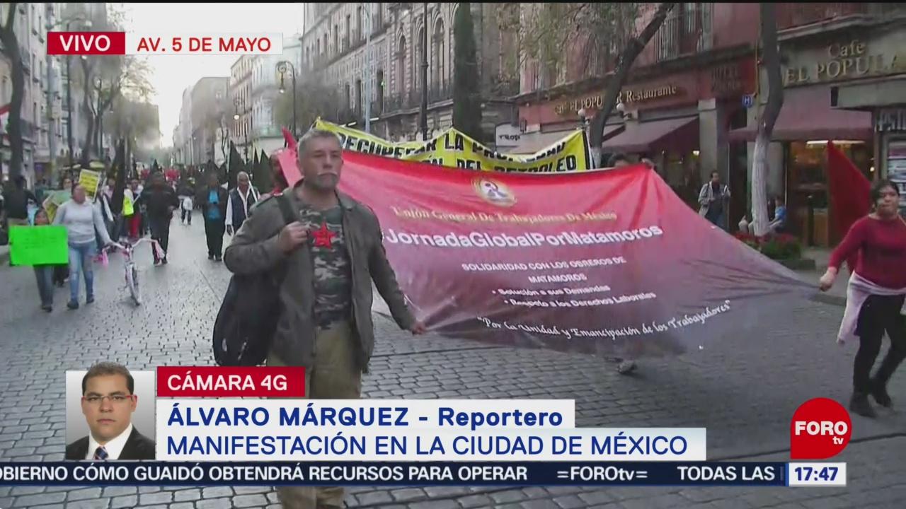 Foto: Trabajadores en la CDMX marchan en apoyo a huelga en Matamoros