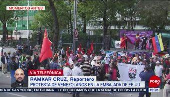 Foto: Venezolanos que apoyan a Maduro protestan en embajada de EU en México, 26 enero 2019