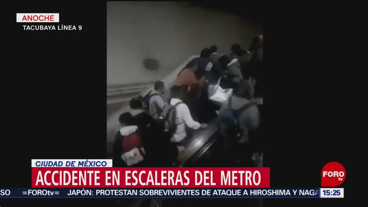 2 heridos deja accidente en escaleras del Metro Tacubaya de la Línea 9