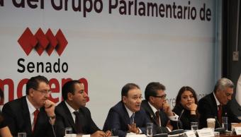 alfonso durazo, reunión plenaria senadores morena, guardia nacional, Twitter, @SenadoresMorena, 6 febrero 2019
