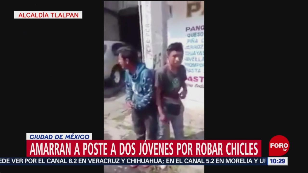 Amarran a un poste a asaltantes en Tlalpan