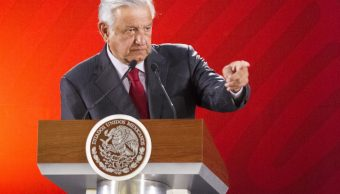 Foto: El presidente Andrés Manuel López Obrador habla durante su conferencia de prensa matutina en Palacio Nacional, Ciudad de México, febrero 4 de 2019 (Notimex)
