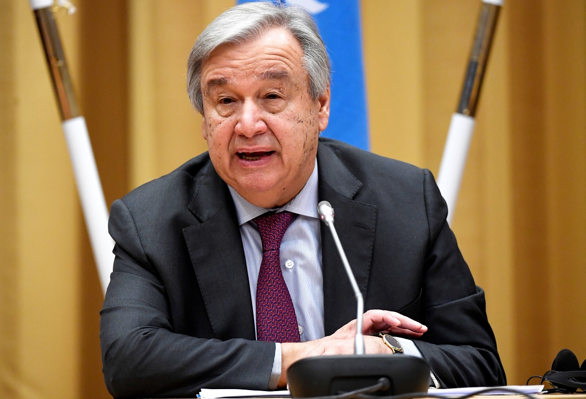 Foto: El secretario general de las Naciones Unidas, Antonio Guterres, habla una conferencia de prensa, Estocolmo, febrero 9 de 2019 (Reuters)
