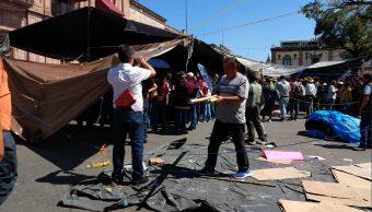 Foto: CNTE levanta campamento que mantenía en Morelia, 15 de febrero 2019. Twitter @PerodicoLaRepb