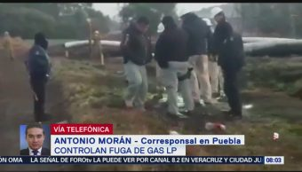 Controlan fuga de gas LP en San Martín Texmelucan, Puebla