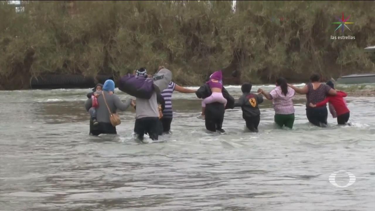 Foto: Migrantes Cruzan Río México EU 19 de Febrero 2019