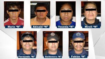 Foto: Entre los detenidos hay cuatro policías municipales, el 24 de febrero de 2019. (Fiscalía General de Guerrero)