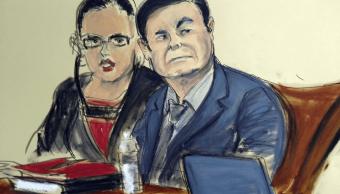 Foto: Dibujo de El Chapo Guzmán durante juicio, 4 febrero 2019, Nueva York, Estados Unidos