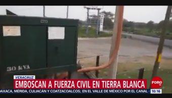 FOTO: Emboscan a policías en Tierra Blanca, Veracruz, 2 febrero 2019