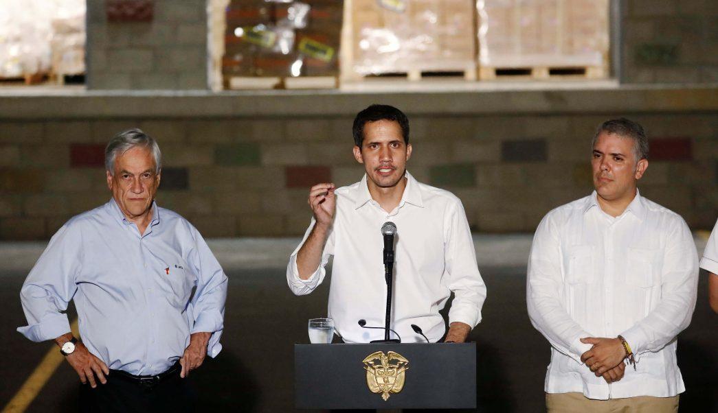 Foto: Iván Duque, presidente de Colombia, Sebastián Piñera, presidente de Chile, y el líder opositor Juan Guaidó en conferencia de prensa en Cúcuta, Colombia, el 22 de febrero de 2019