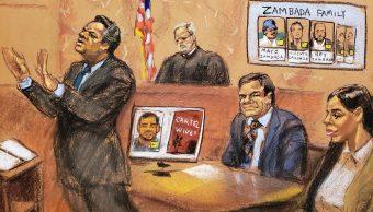 """Foto: Boceto del juicio de Joaquín """"El Chapo"""" Guzmán en una corte de Nueva York, EEUU, del 31 de enero del 2019"""