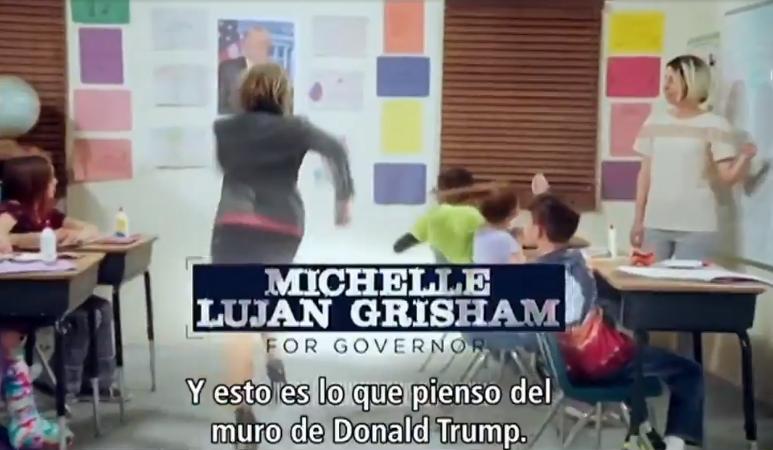 Foto: Gobernadora Michelle Lujan Grisham corre contra muro de Trump, 8 de febrero 2019, Estados Unidos