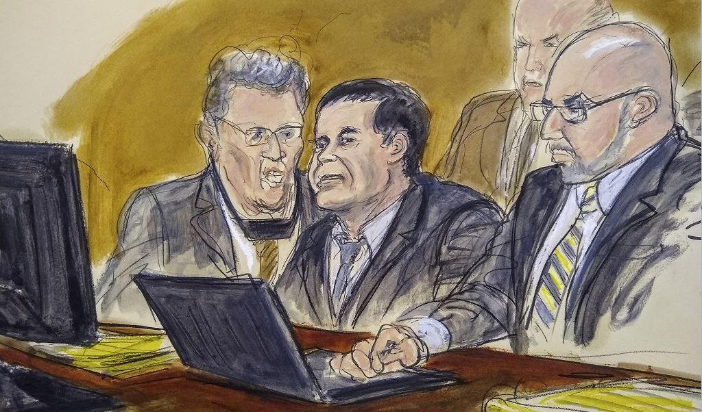 """Imagen: Boceto de Joaquín """"El Chapo"""" Guzmán durante su juicio en una corte de Nueva York, Estados Unidos, 7 febrero 2019"""