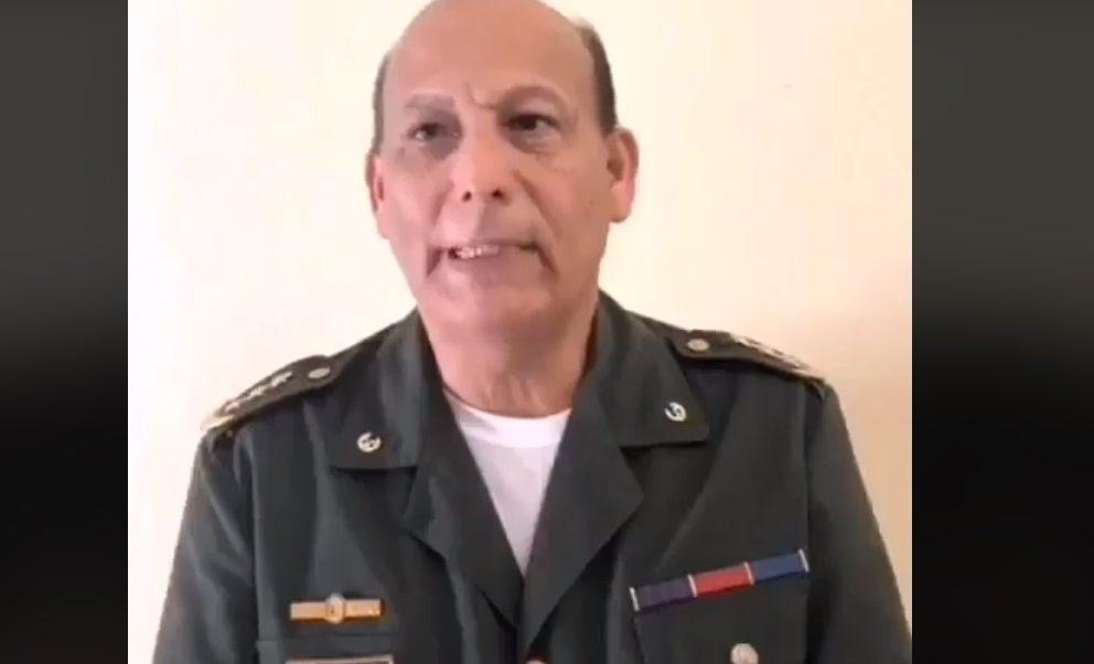 Foto: El coronel activo del Ejército venezolano Rubén Paz Jiménez dio un mensaje en redes sociales, febrero 9 de 2019 (Facebook: Thais Nanez)