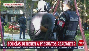 Policías detienen a presuntos delincuentes en alcaldía Coyoacán