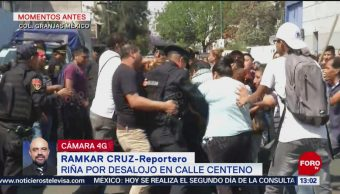 FOTO: Riña por desalojo en la alcaldía Iztacalco, CDMX, 23 febrero 2019