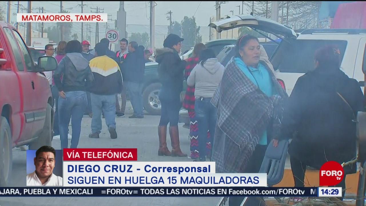 Foto: Sigue huelga en 15 maquiladoras en Tamaulipas